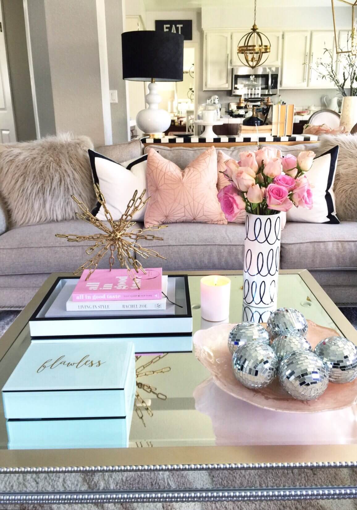 Glamorous Mirrored Table with Metallic Accent Art
