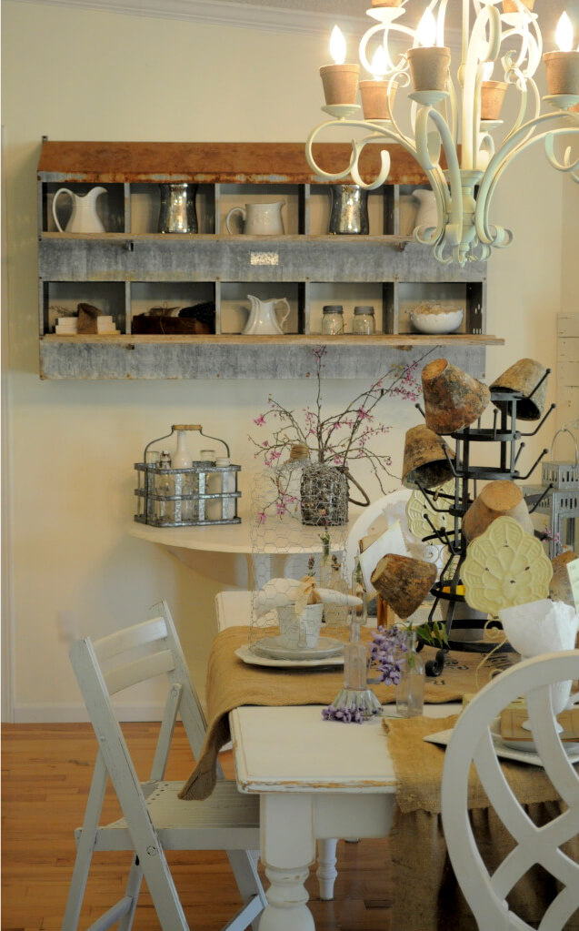 Weathered Wall Shelf with Antique Pitchers