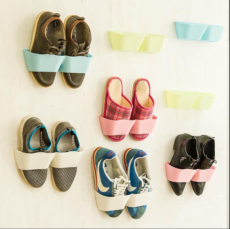 Creative Adhesive Shoe Organizer