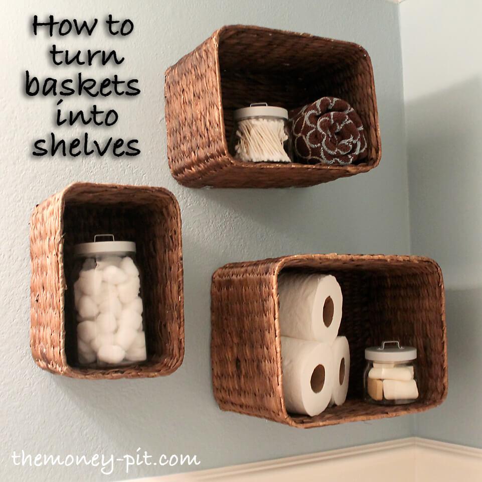 Upside Down Refashioned Basket Shelves