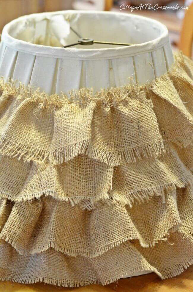 County Belle Flounced Burlap Lampshade