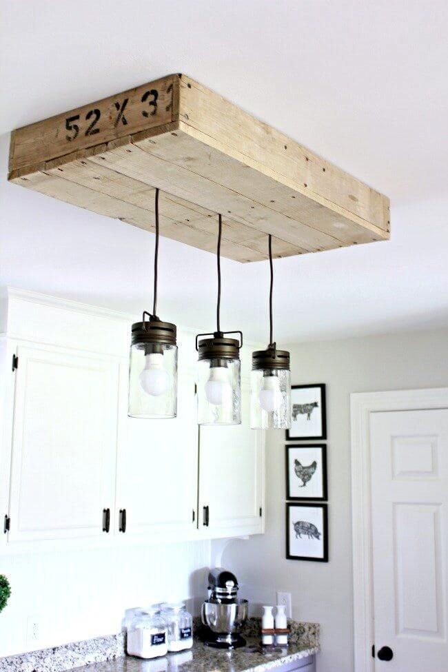 Barn Style Lighting Hanging from a Pallet