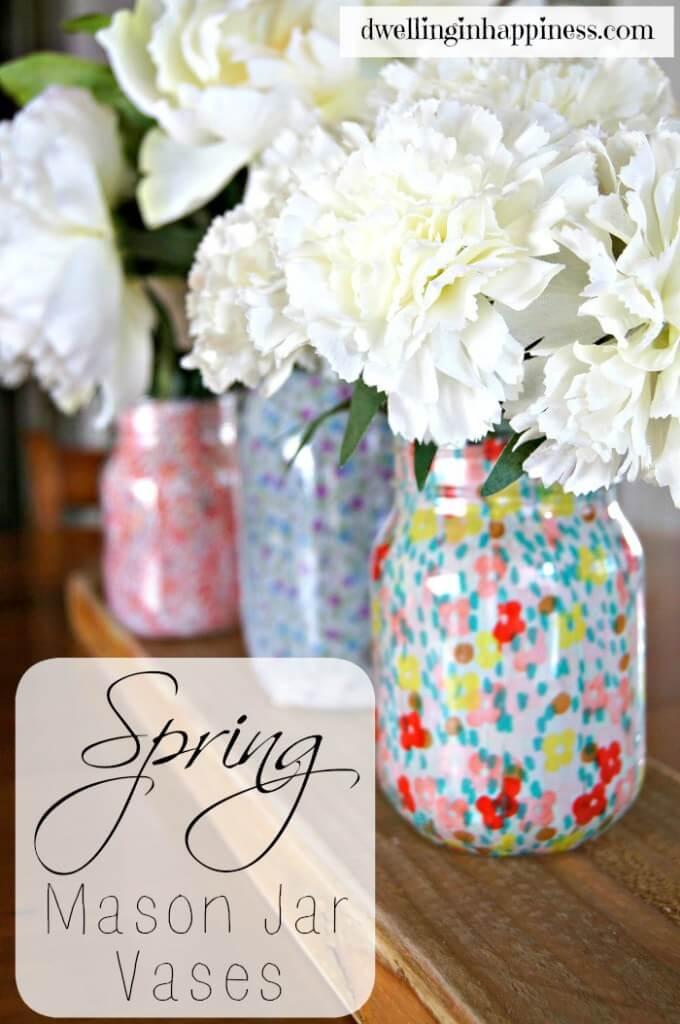 Pretty Flower Filled Mason Jars