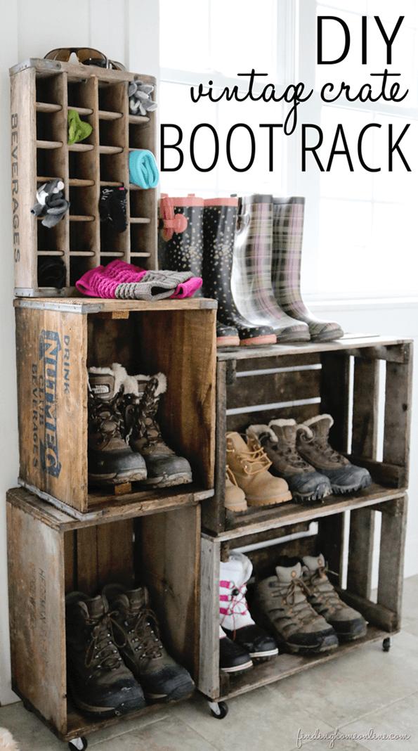 Super Simple Wood Crate Shoe Rack
