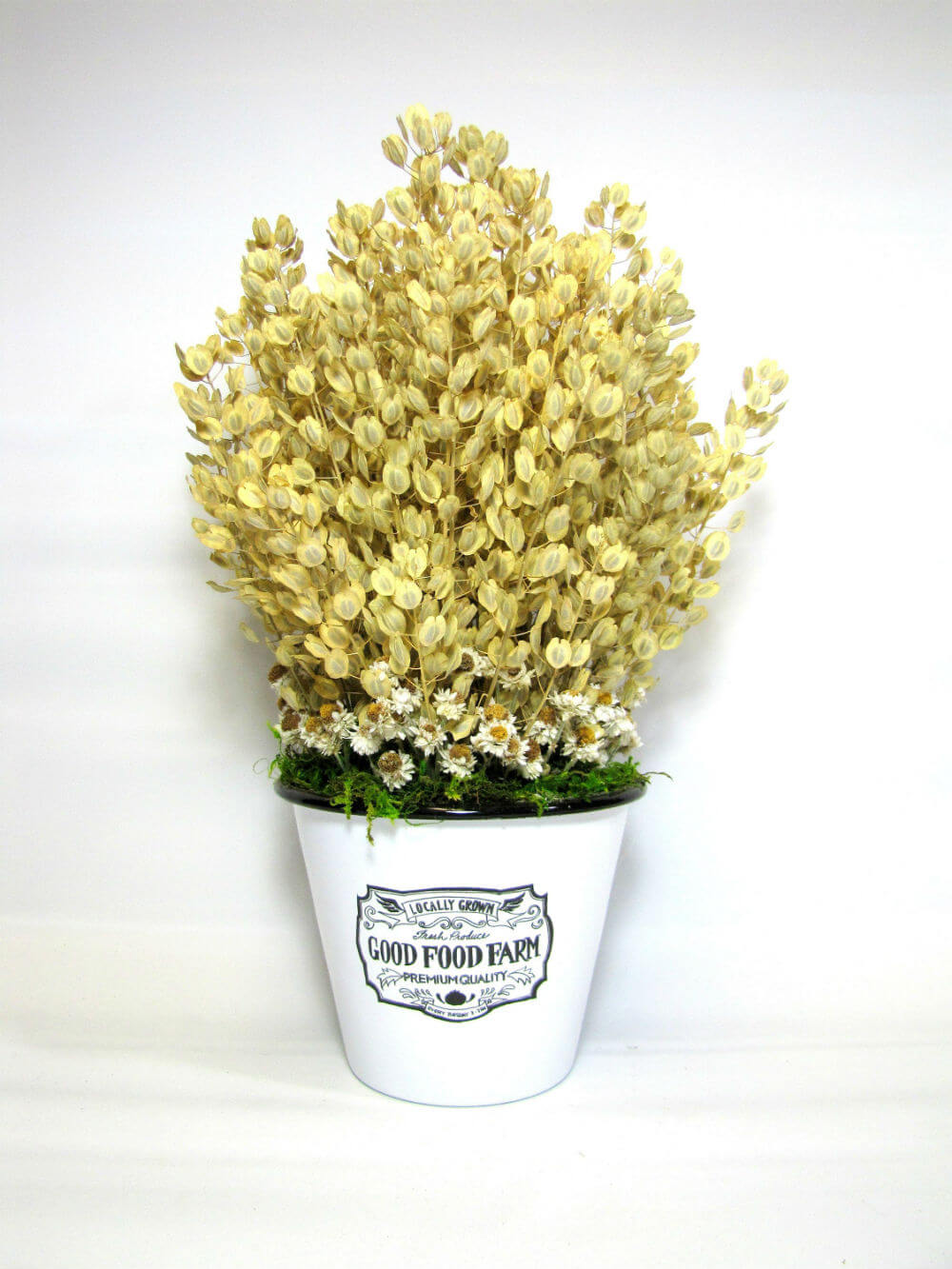 Simple Chic Dried Golden Pennycress and Daisy Arrangement