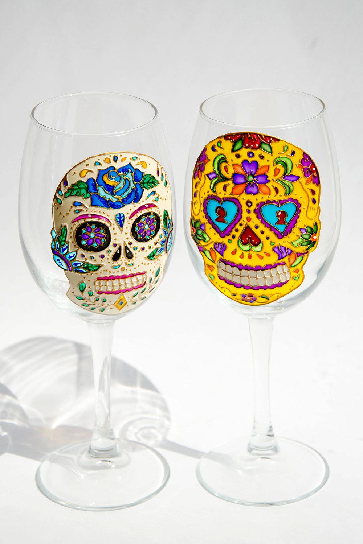 Day of the Dead Sugar Skull Wine Glasses