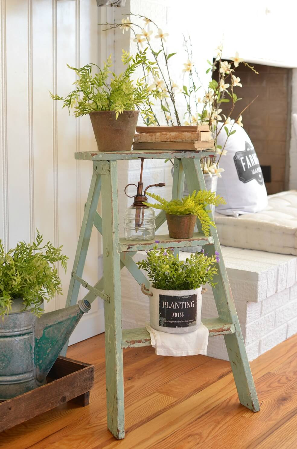 Reclaimed Step Ladder with Plant Display