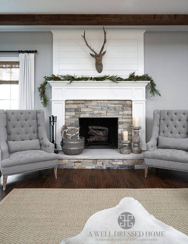 Transitional Stone and White Wood Fireplace