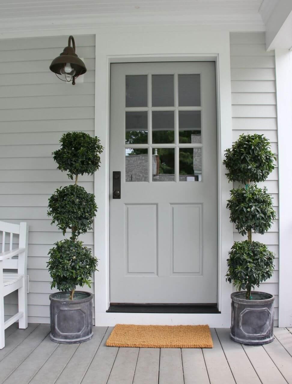 Modern White Door with Plants