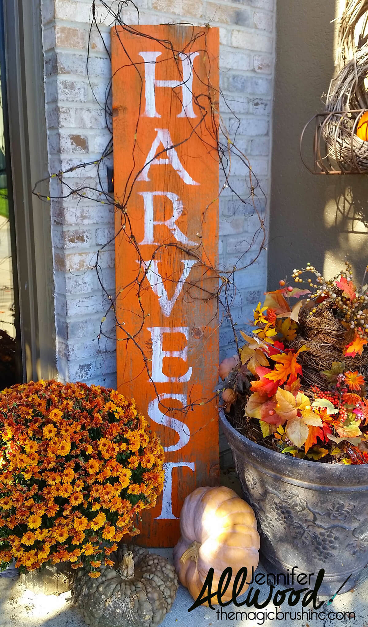 """Wood and Grapevine """"Harvest"""" Porch Sign"""
