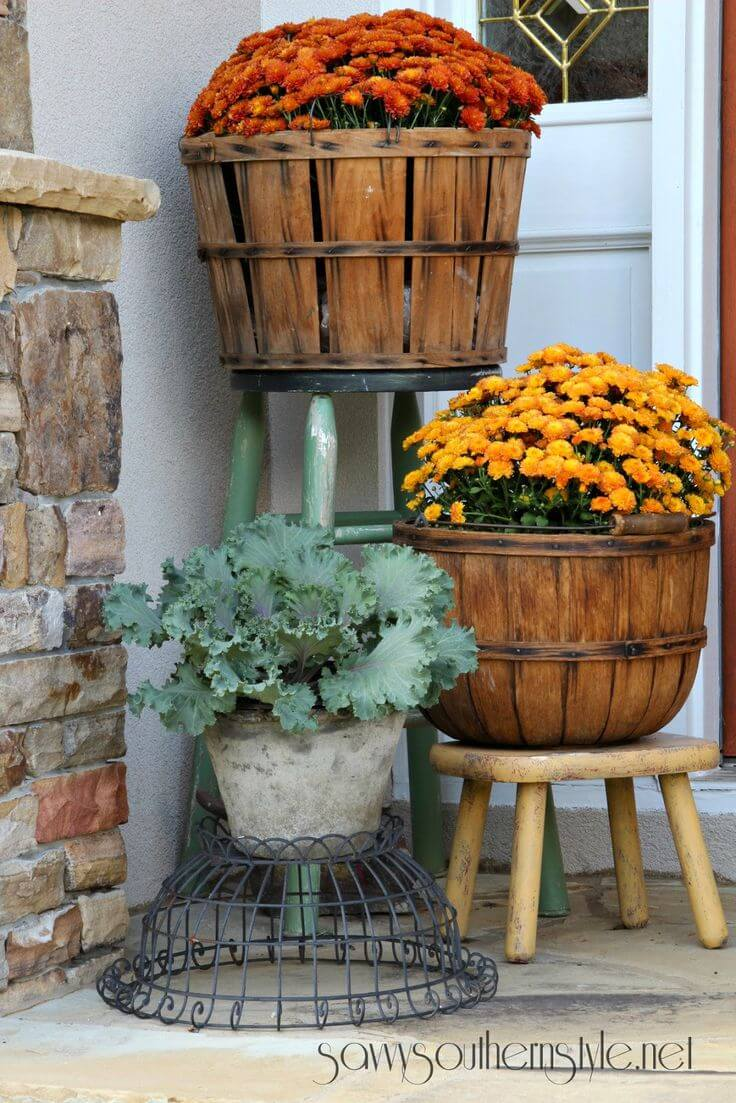 Fruit Basket Fall Mum Planters