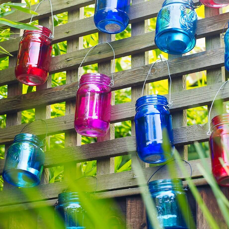 Multicolored Mason Jars with Wire Hangers