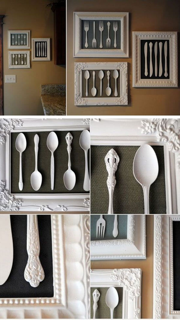 Framed Vintage Silverware Art Project