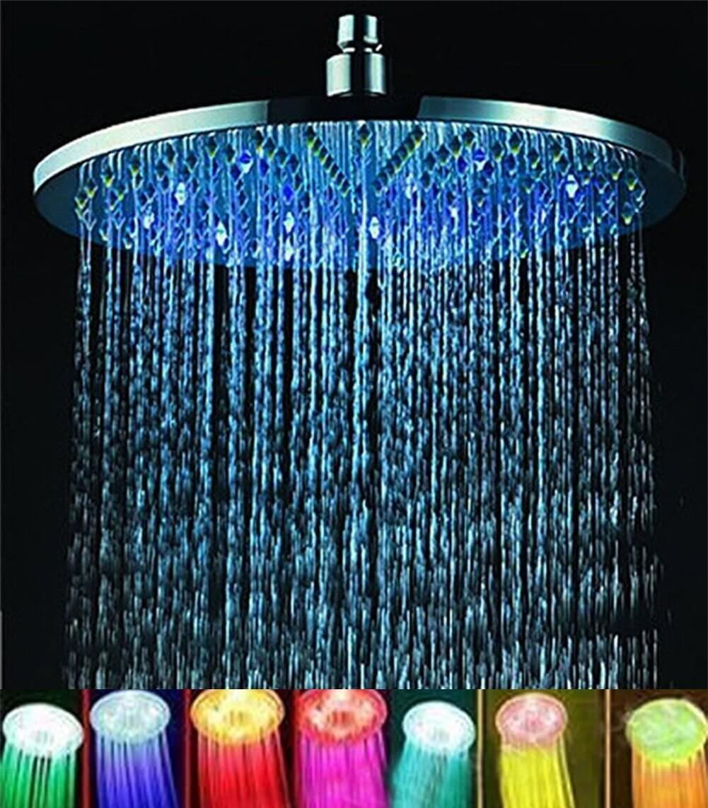 ELENKER Round Shower Head With 7-Color LED Lighting