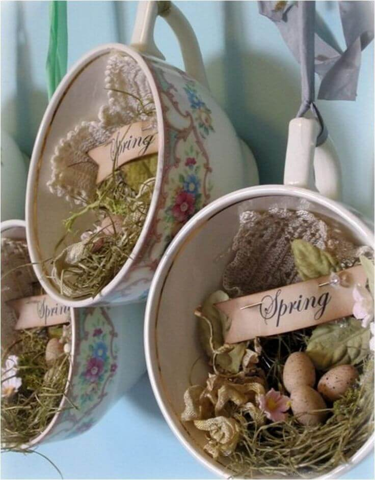 Hanging Teacup Curio Easter Nests