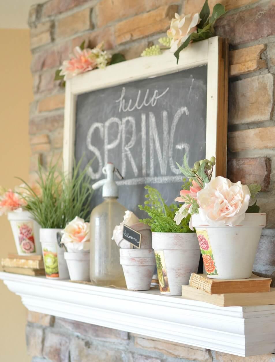 Chalkboard and White Pot Arrangements
