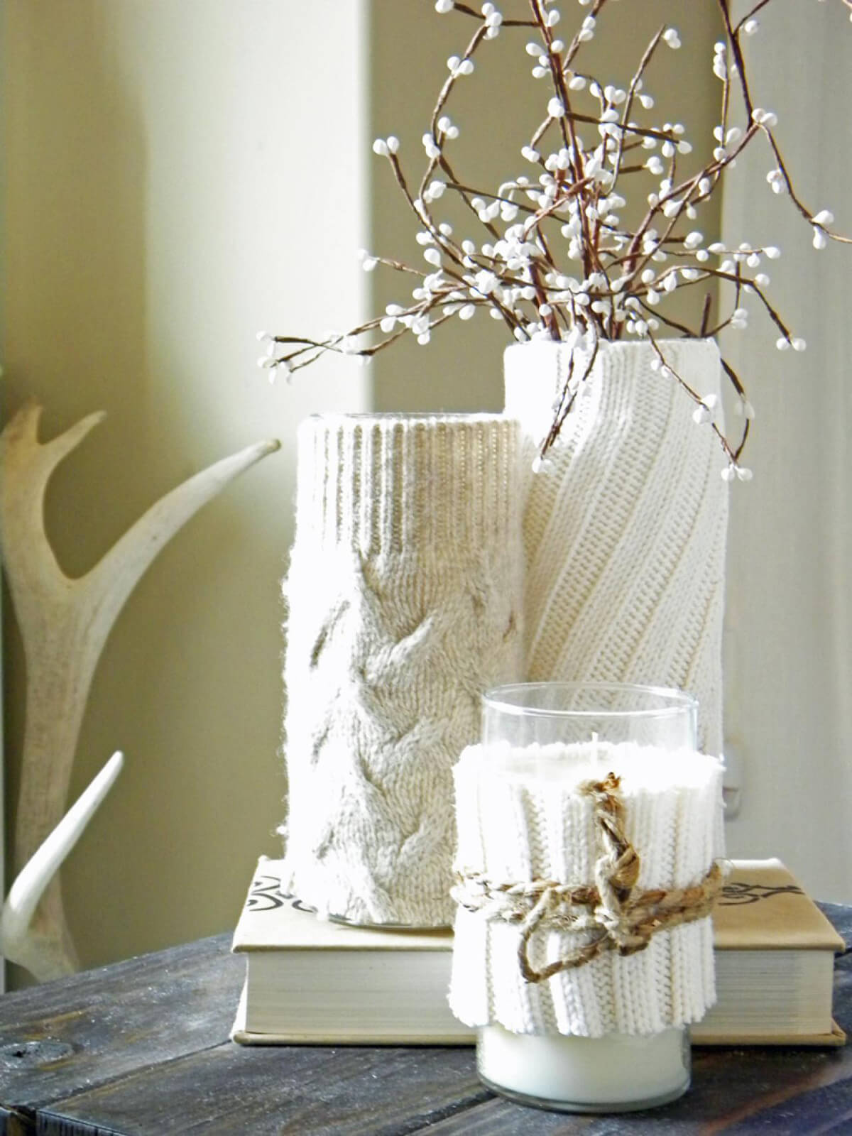 Cozy Sweater Candleholder and Vase