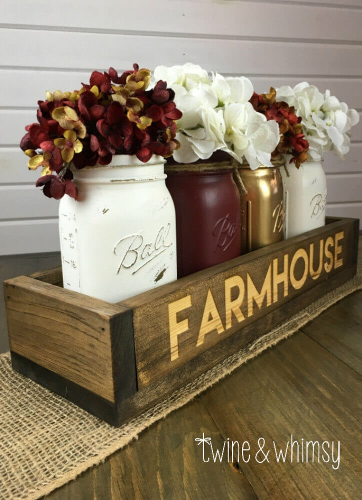 Farmhouse Centerpiece with Vintage Jars