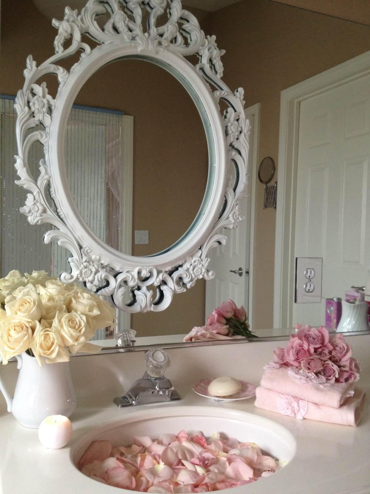 Pretty Vintage Above-Sink Mirror Frame