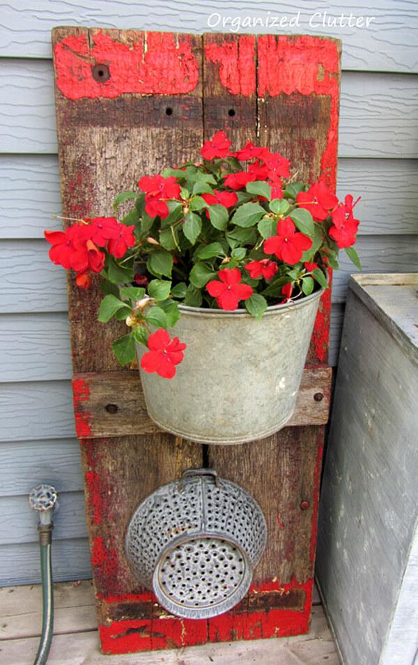 Wagon Board and Metal Bucket Planter