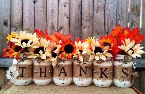 Worded Mason Jar Flower Arrangement