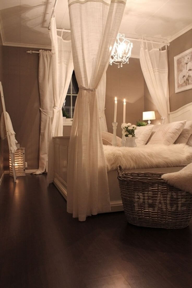 Mock Four-poster Canopy Bed With Linen Drapes