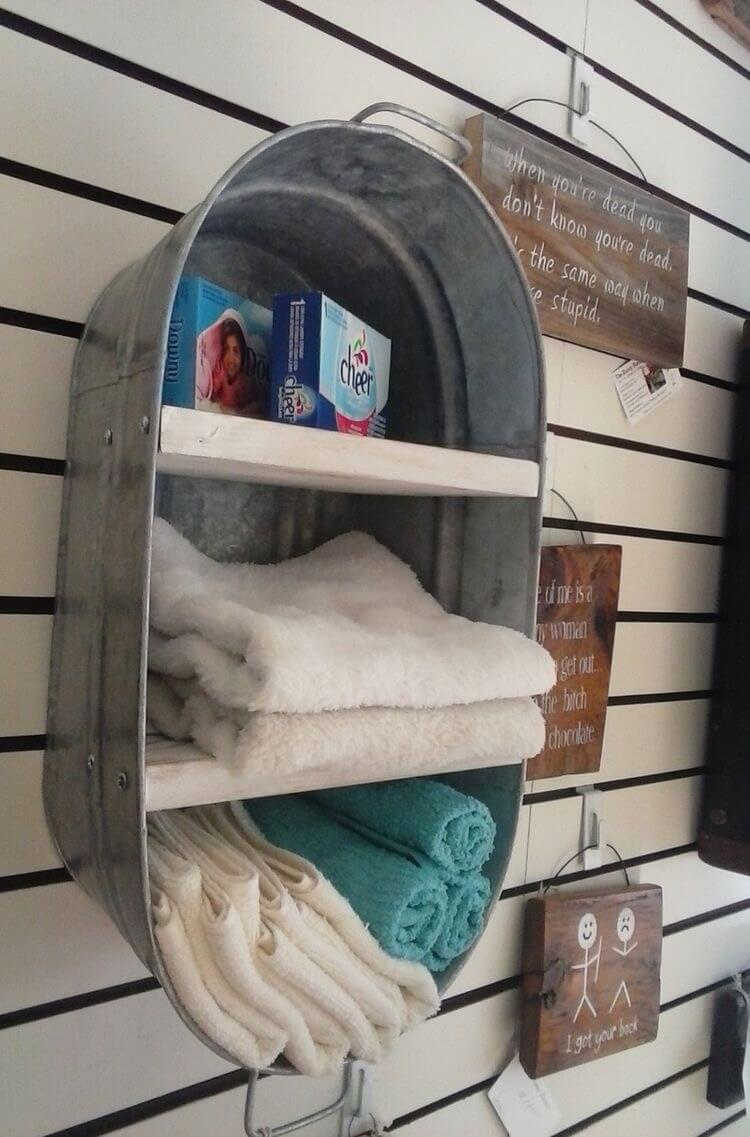 Repurposed Wash Tub Shelving Unit
