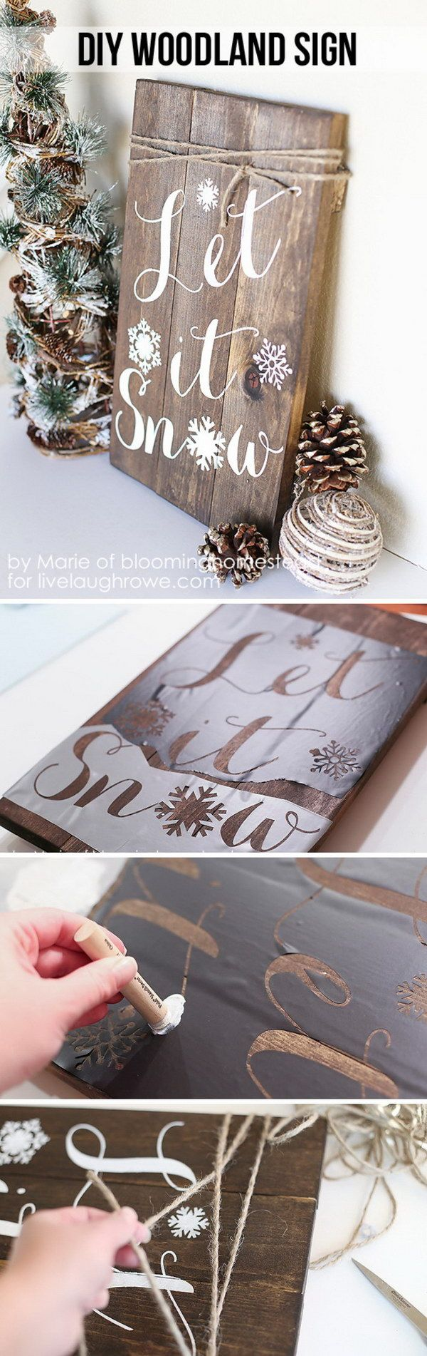 Simple Stenciled Holiday Panel