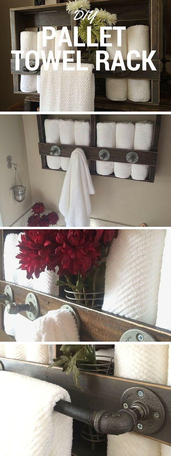 Rustic Repurposed Pallet Towel Rack