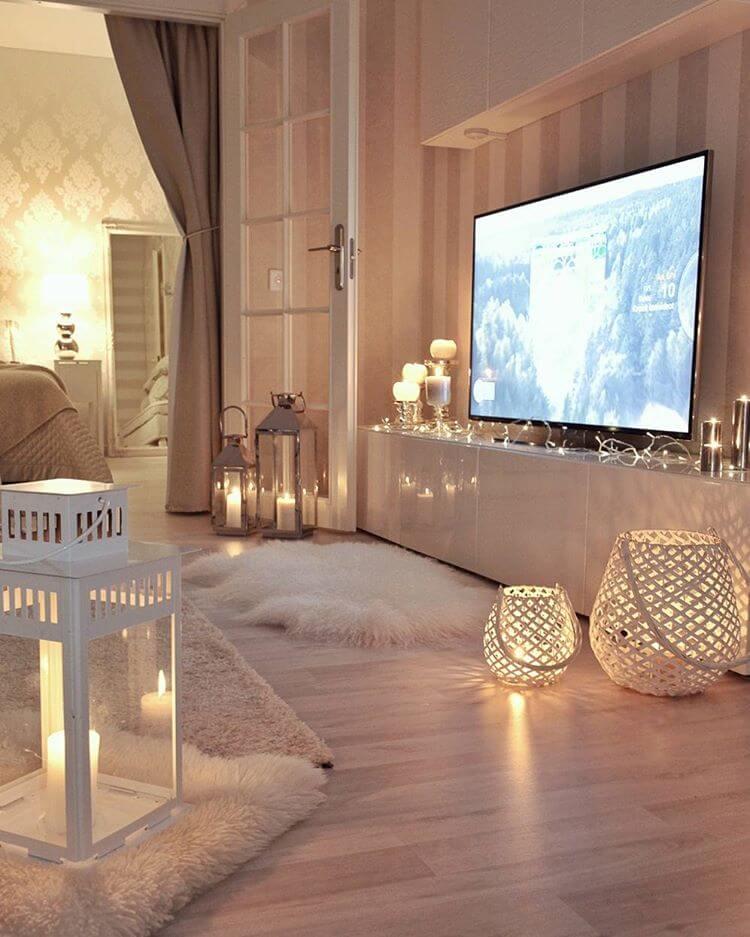 Light Hardwoods, White French Doors, Beige Stripes