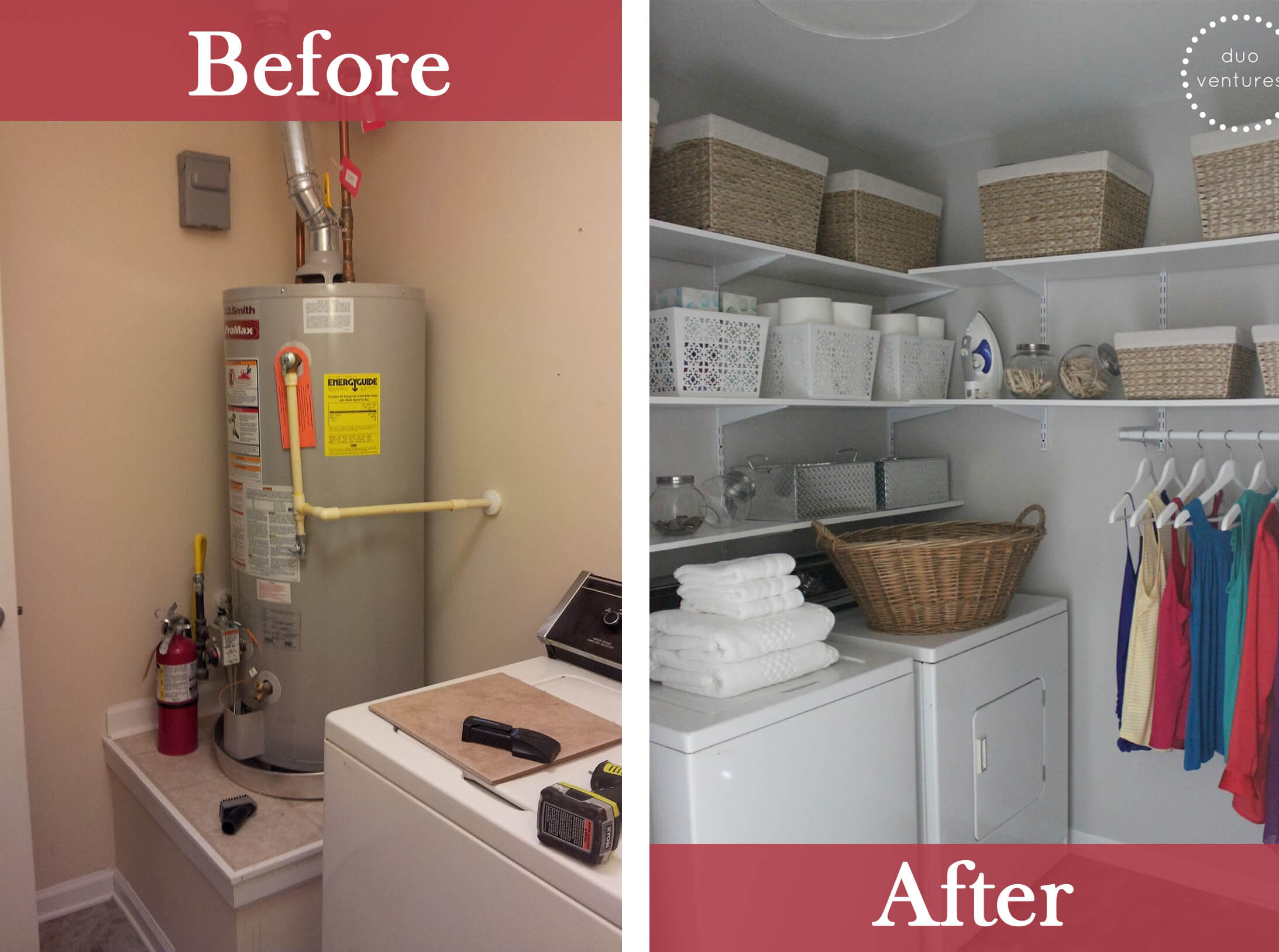Laundry Closet with Extra Shelves and Hanging Space