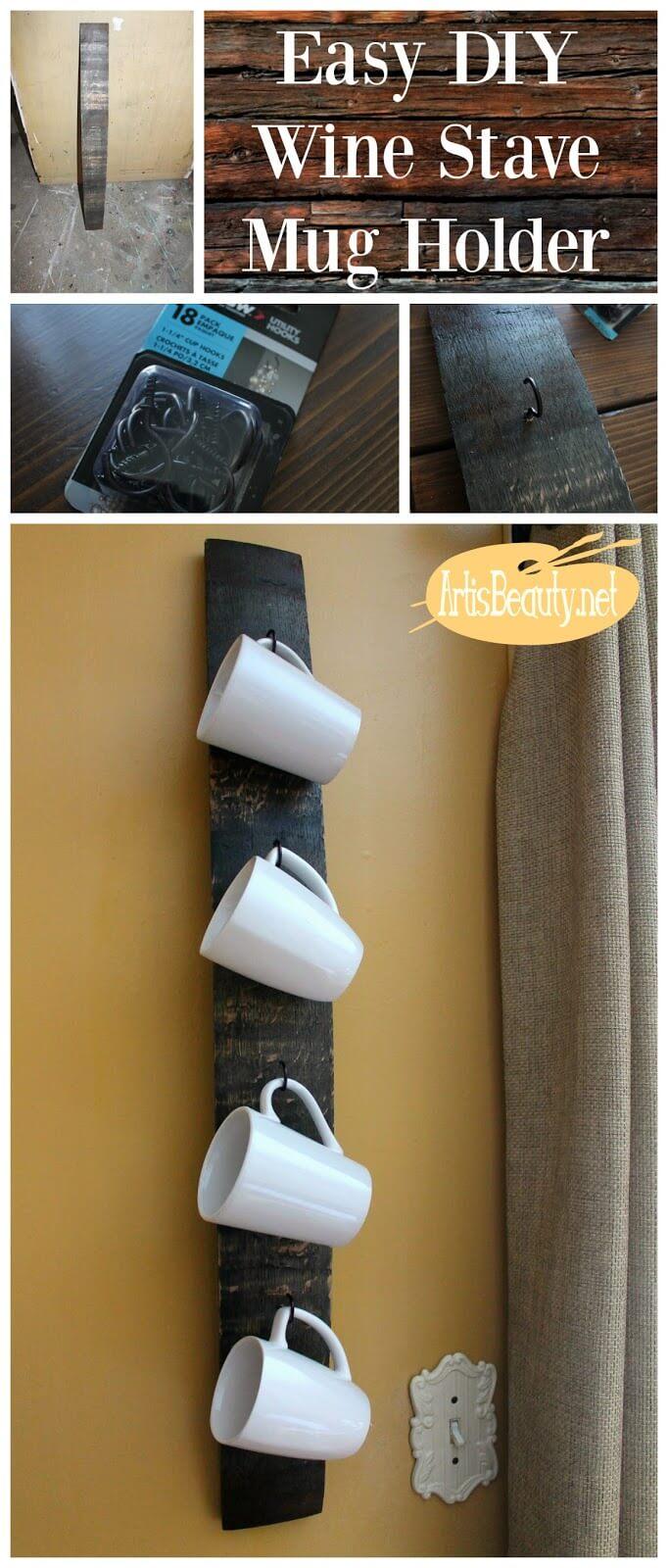 DIY Coffee Mug Holders with Wine Barrel Staves