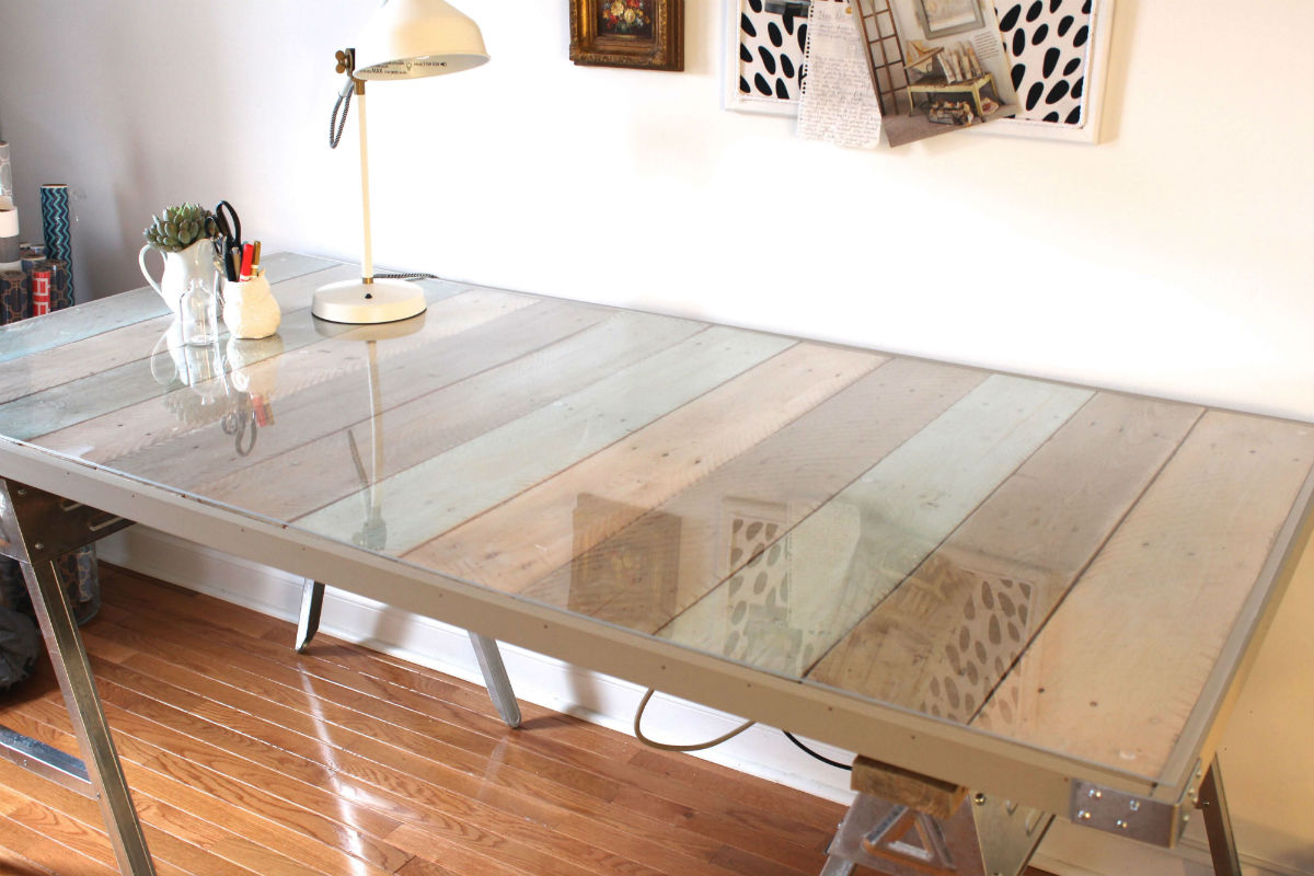 Sawhorse Desk with Clear Glass Top