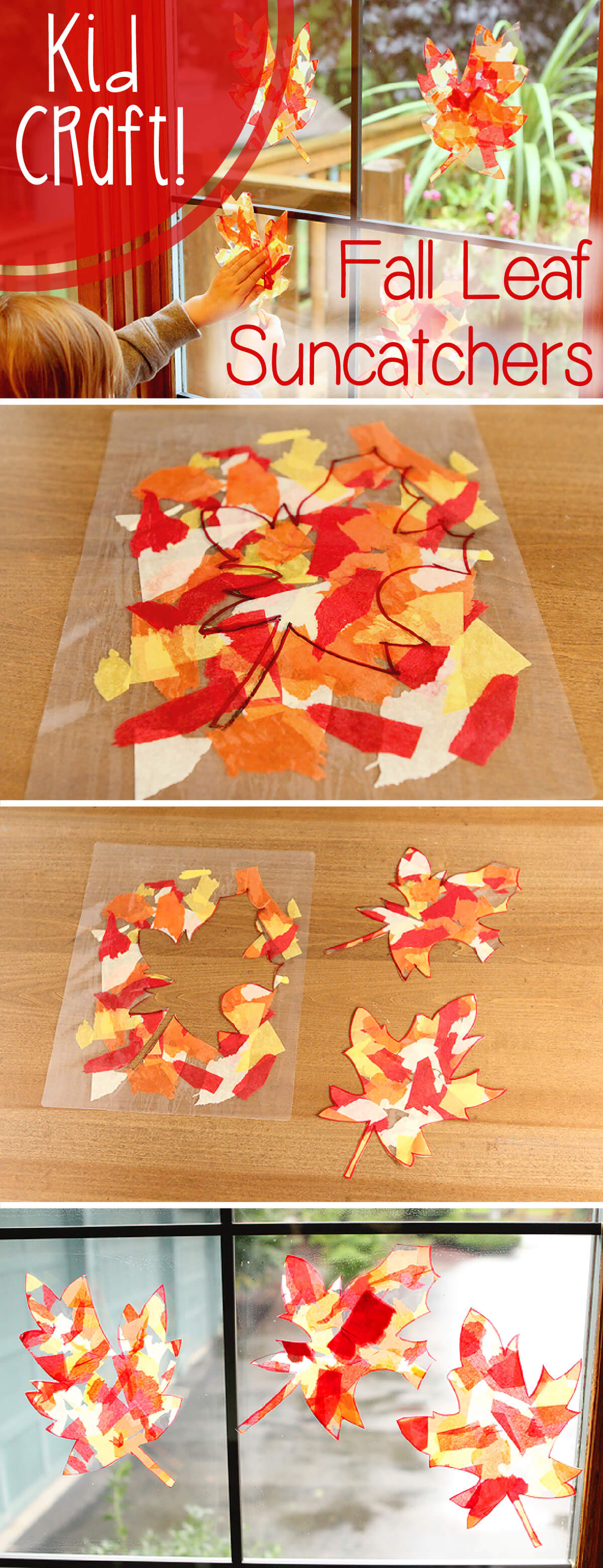 Stained Glass Effect Fall Leaf Suncatchers