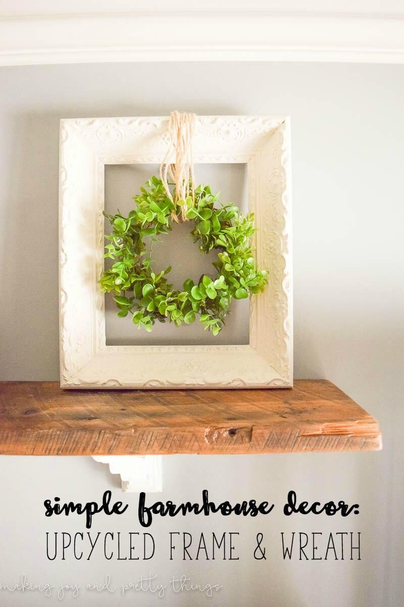 Cute Repainted Frame and Greenery Wreath