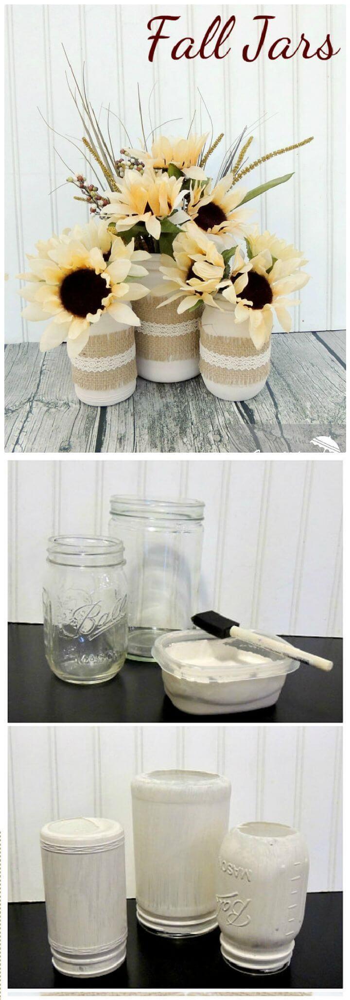 Painted White Mason Jars with Burlap