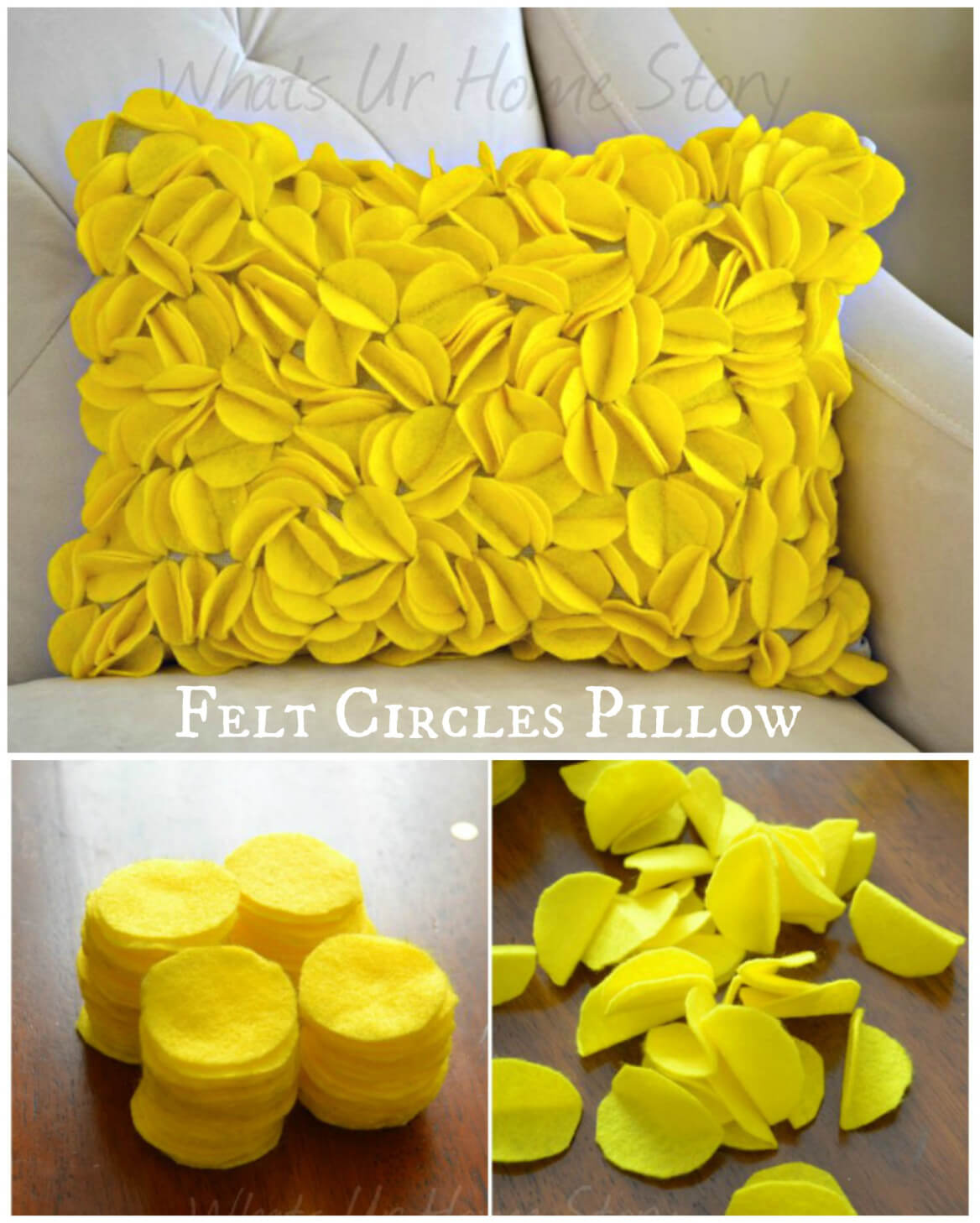 DIY Felt Circles 3D Pillow