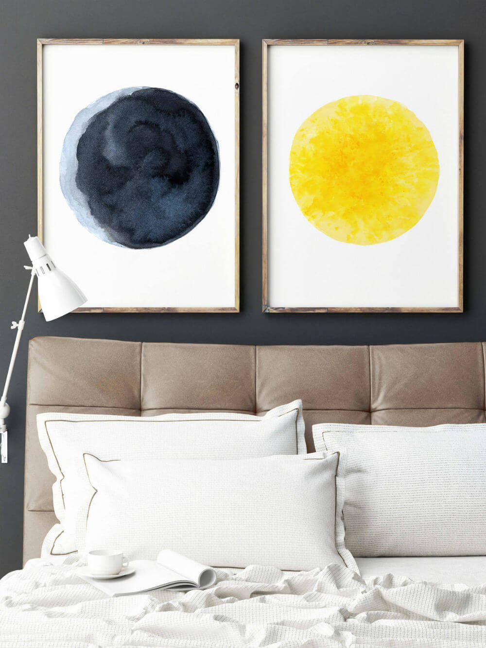Watercolor Sun and Moon Paintings