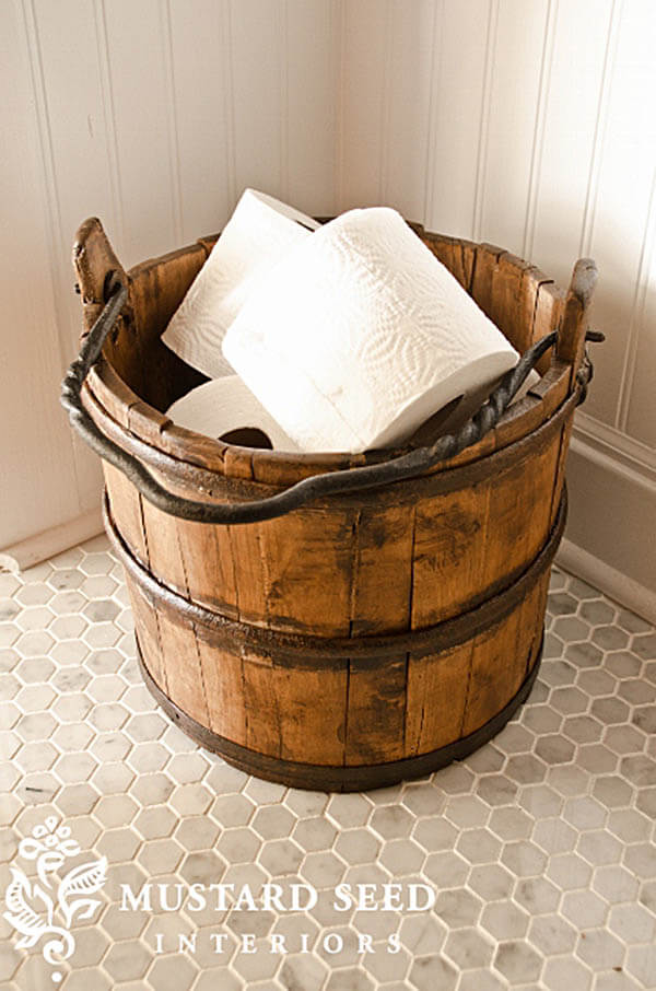 Wood Bucket Toilet Paper Holder