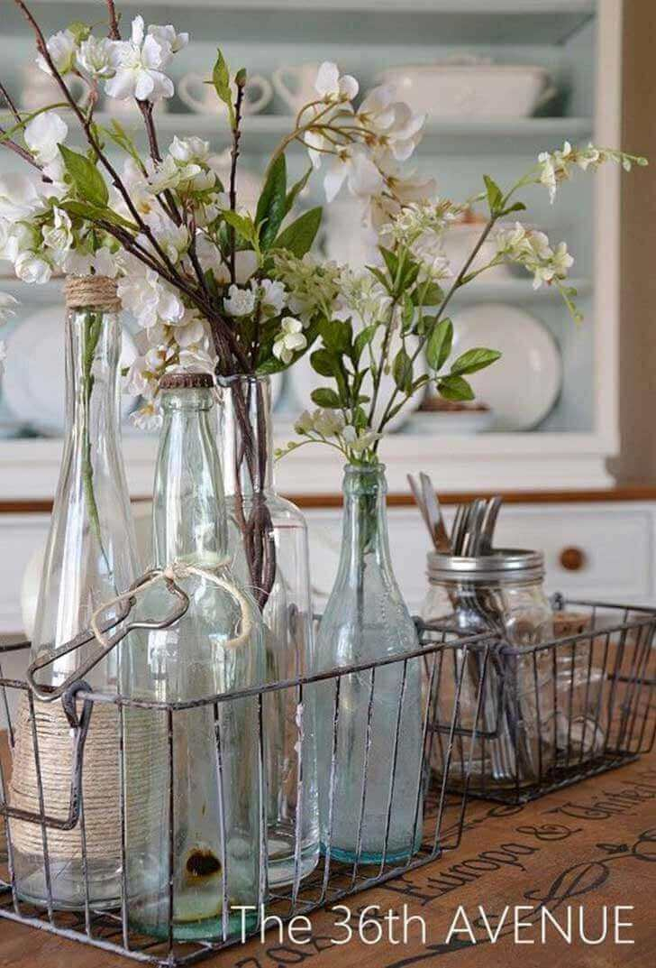 Repurposed Glass Bottle Arrangements