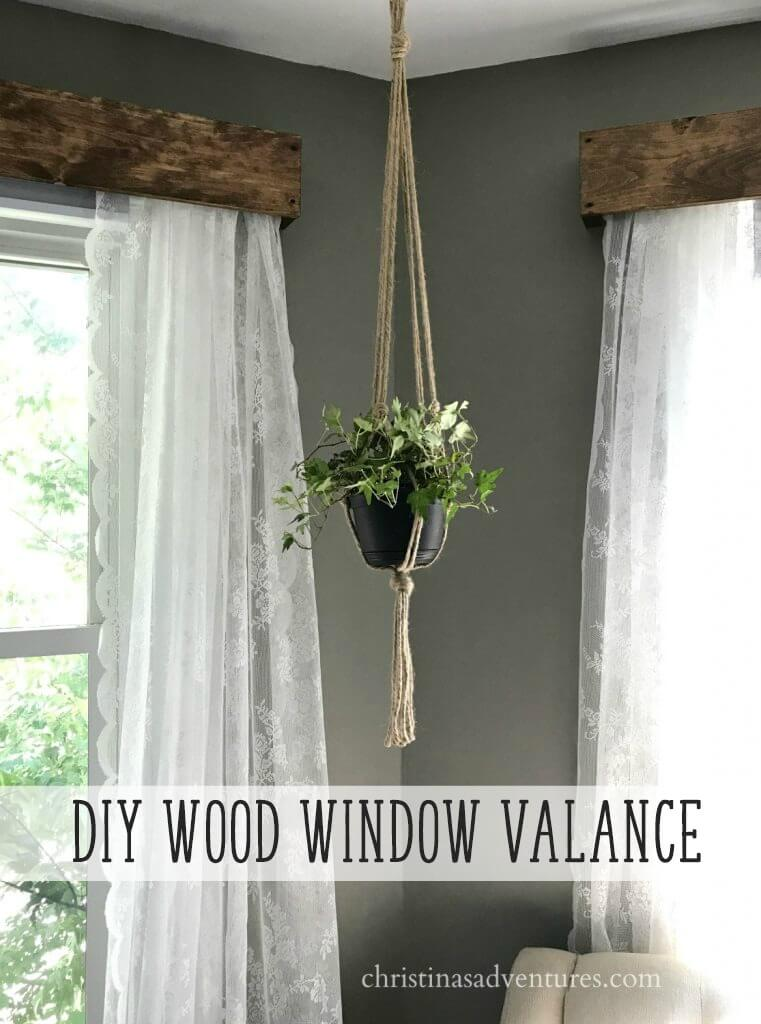 Reclaimed Wood Valance with Lace Curtains