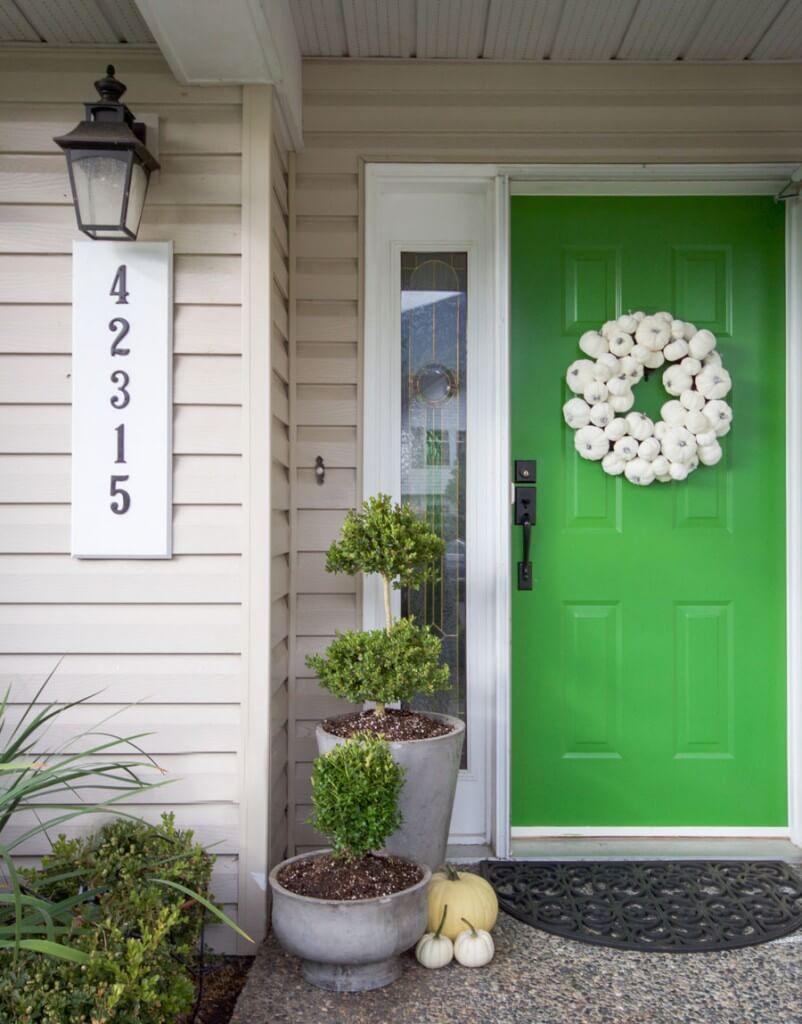 Green Door Idea with Wreath