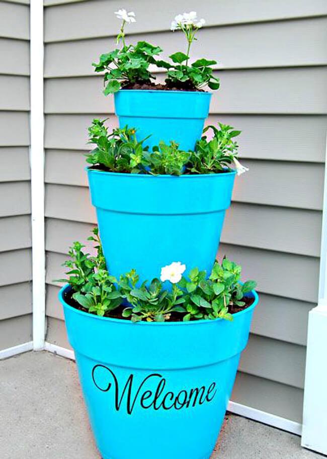 Tiered Front Door Flower Pot Welcome Decoration