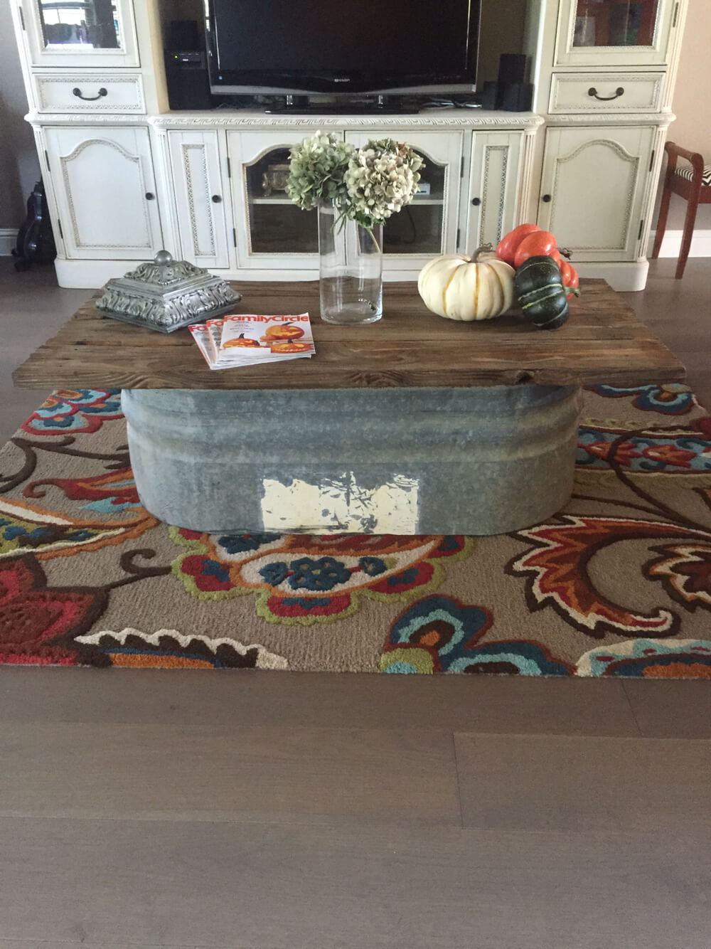 Coffee Table Base Made from Galvanized Tub