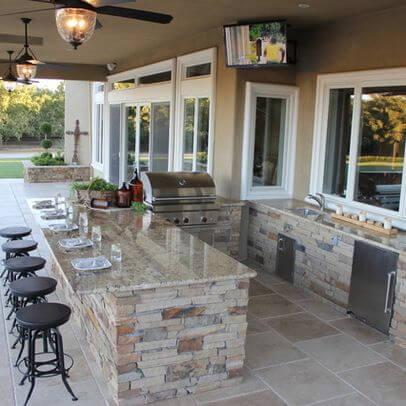 Patio Kitchen with Bar, Sink, and Mini-Fridge