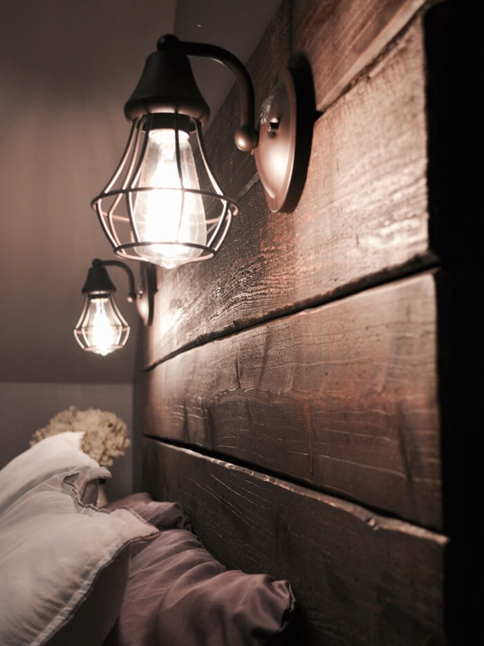 Barn Lighting Built Into Headboard