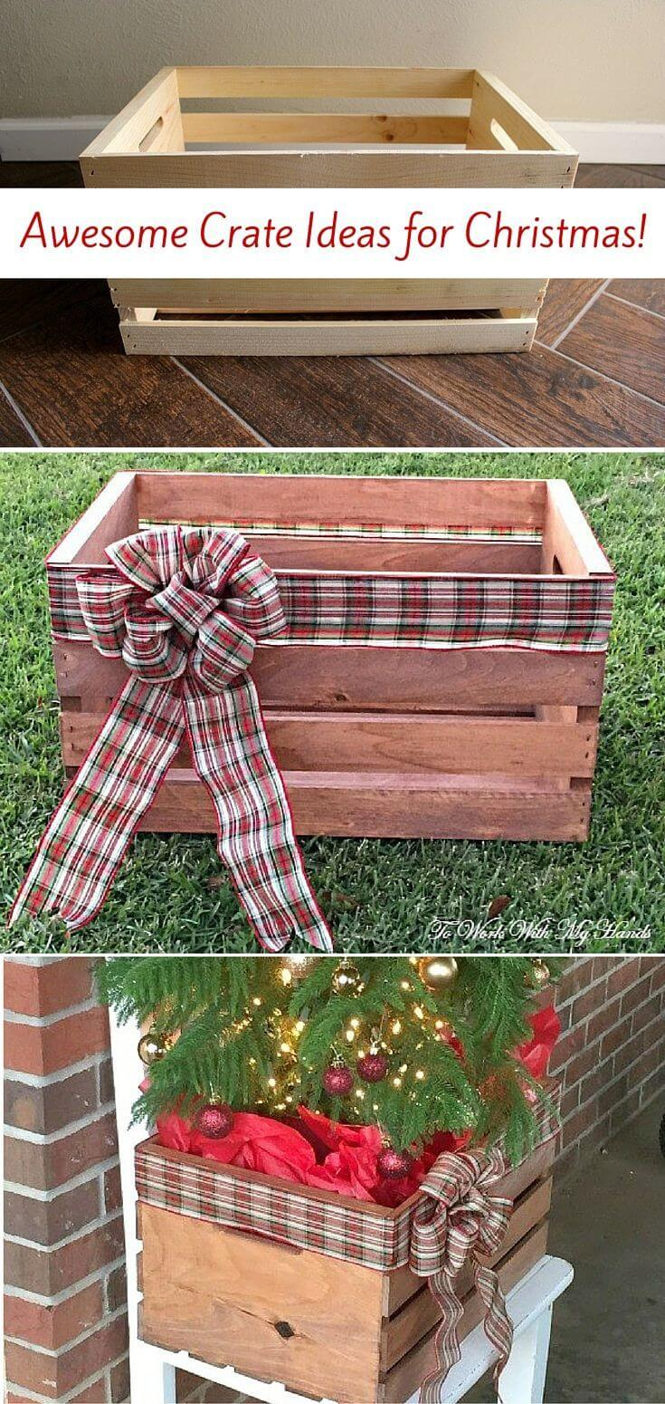 Upcycled Wooden Crate Christmas Project