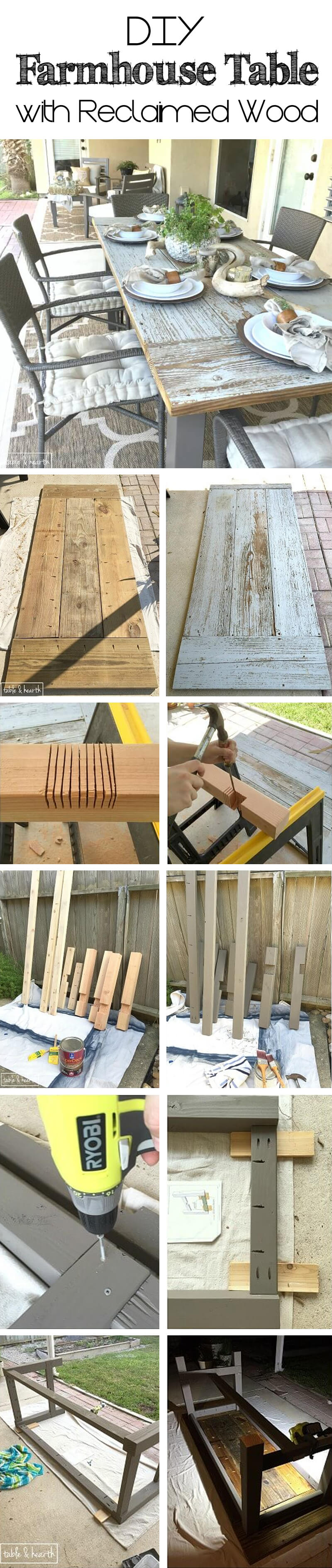 Rustic DIY Farmhouse Tables with Reclaimed Wood