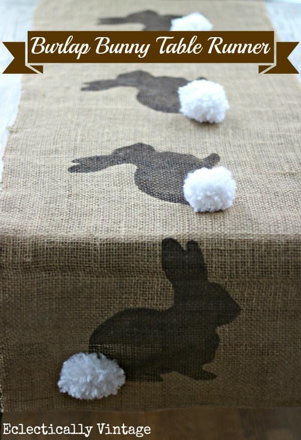 Burlap Cotton Tail Bunny Table Runner