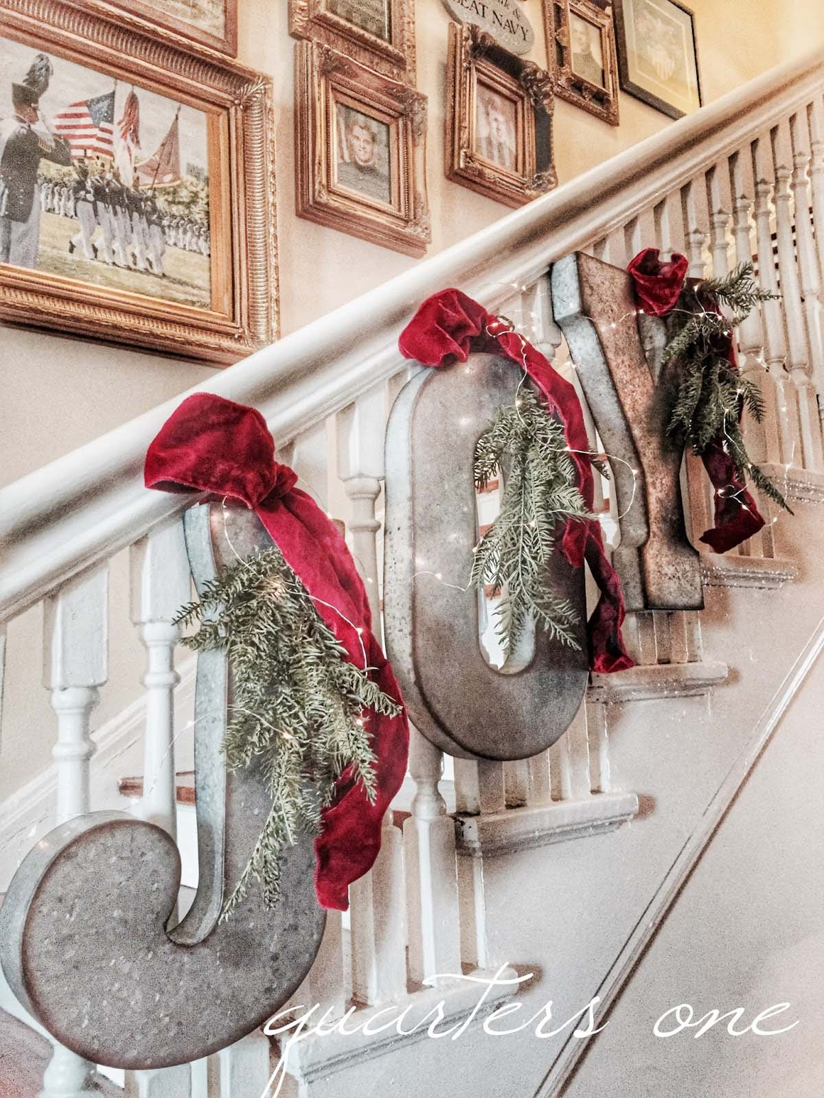"Pretty ""Joy"" Christmas Stair Sign"